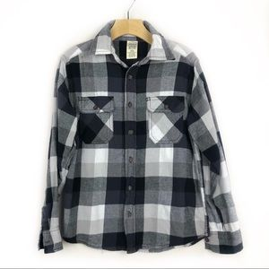 Faded Glory Boys Black White Flannel Large 10/12